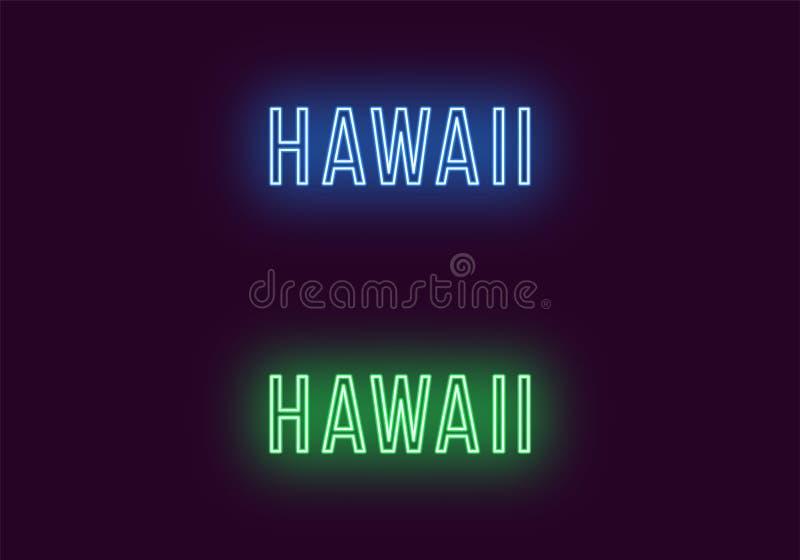 Όνομα νέου του κράτους της Χαβάης στις ΗΠΑ Διανυσματικό κείμενο διανυσματική απεικόνιση