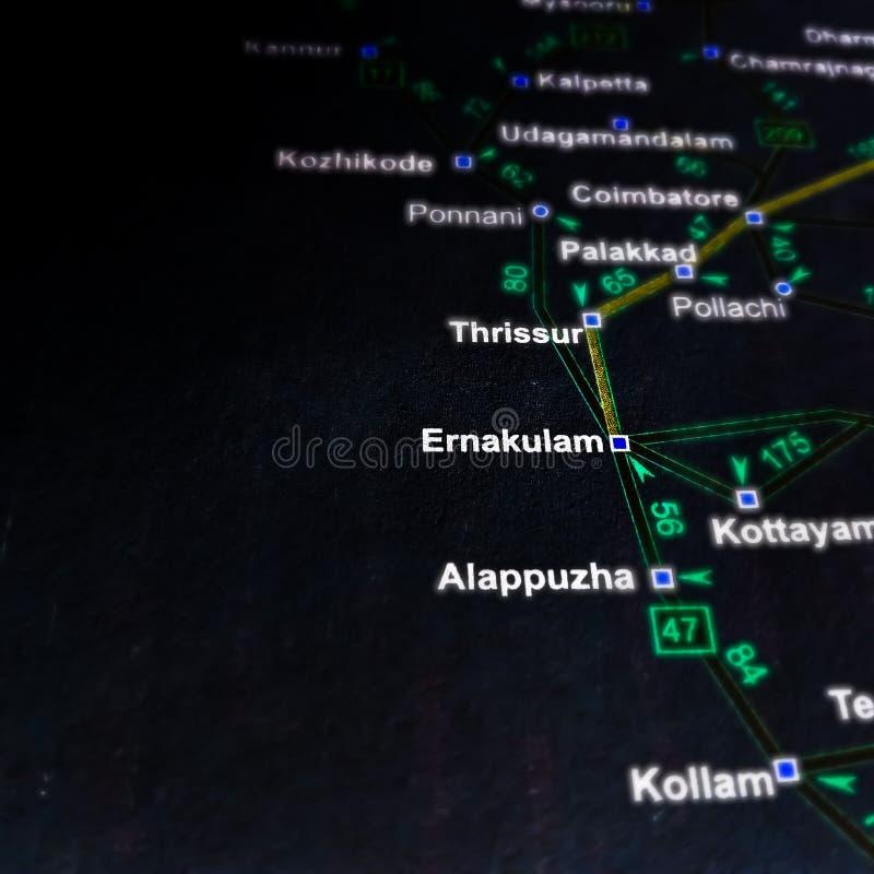 όνομα περιοχής ερνακουλάμ που εμφανίζεται στο χάρτη της Ινδίας στοκ φωτογραφία
