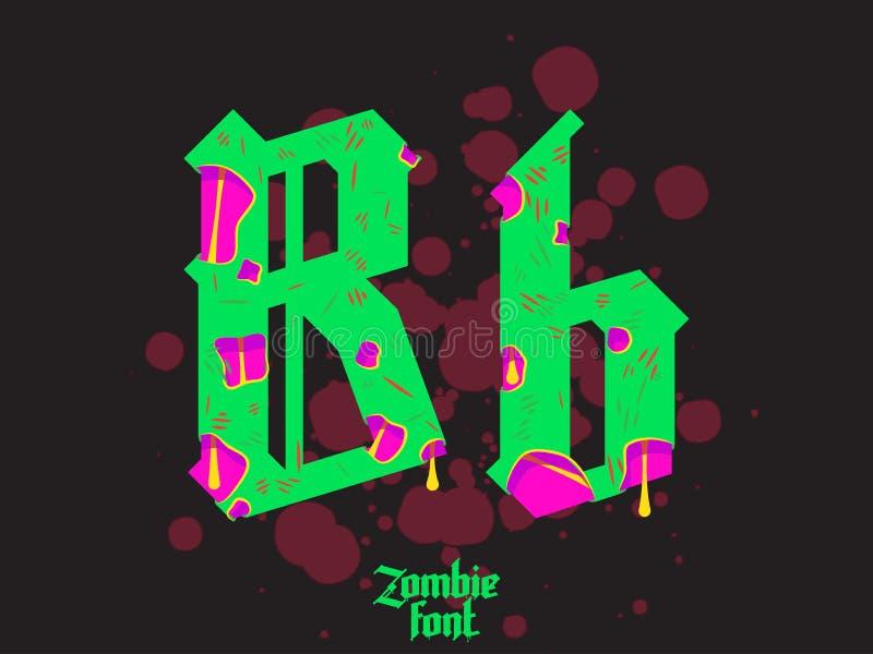 Όξινη γοτθική πηγή zombie διανυσματική απεικόνιση
