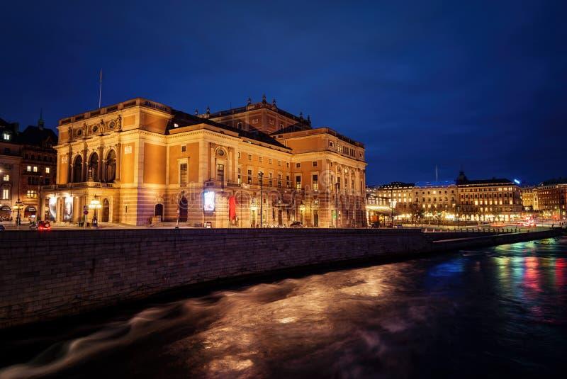 Όπερα και Δημαρχείο της Στοκχόλμης τη νύχτα στοκ φωτογραφία με δικαίωμα ελεύθερης χρήσης