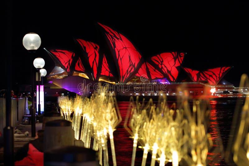 Όπερα του Σίδνεϊ στο ανοιχτό κόκκινο για το ζωηρό Σίδνεϊ στοκ φωτογραφία με δικαίωμα ελεύθερης χρήσης