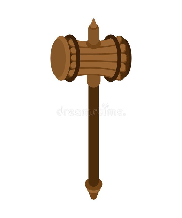 Όπλο βαρειών που απομονώνεται Ξύλινο πολεμικό σφυρί Παλαιός μεσαιωνικός εμείς ελεύθερη απεικόνιση δικαιώματος