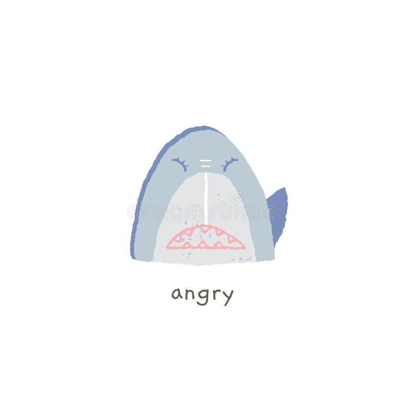 Όπως ακούει χαμόγελο με τις συγκινήσεις το Διανυσματικό συρμένο χέρι emoji διανυσματική απεικόνιση