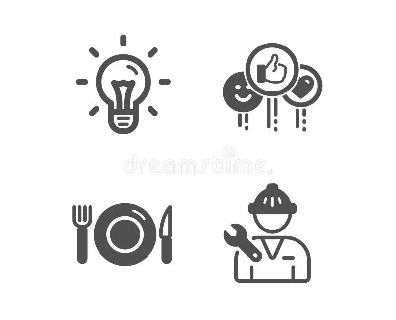 Όπως, εικονίδια τροφίμων και ιδέας E Τα κοινωνικά μέσα συμπαθούν, εστιατόριο, λάμπα φωτός r r ελεύθερη απεικόνιση δικαιώματος
