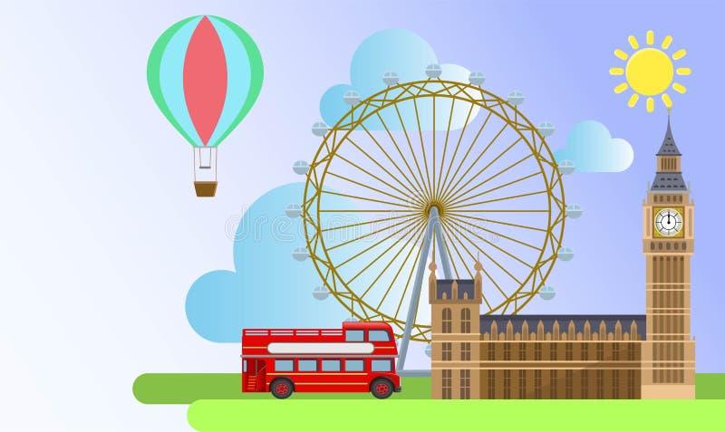 Αρχιτεκτονική του Λονδίνου όπως η ρόδα ματιών του Λονδίνου, παλάτι του Γουέστμινστερ, μπαλόνι τουριστών διανυσματική απεικόνιση
