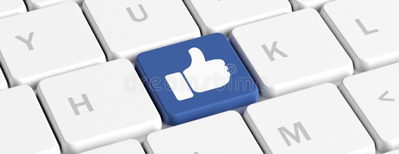 Όπως στα κοινωνικά μέσα, αντίχειρας επάνω Μπλε βασικό κουμπί με το χέρι σε ένα πληκτρολόγιο υπολογιστών, έμβλημα τρισδιάστατη απε διανυσματική απεικόνιση