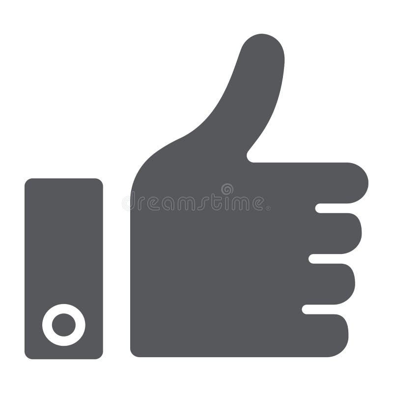 Όπως το εικονίδιο κουμπιών glyph, εγκρίνετε και εντάξει, ο αντίχειρας υπογράφει επάνω, διανυσματική γραφική παράσταση, ένα στερεό απεικόνιση αποθεμάτων