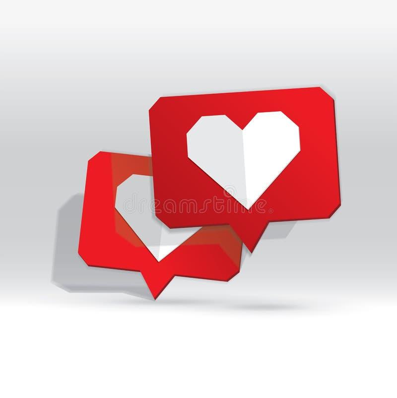 Όπως το εικονίδιο πολυγώνων, αντίθετο εικονίδιο ανακοίνωσης, εικονίδιο καρδιών, κοινωνικά μέσα διανυσματική απεικόνιση