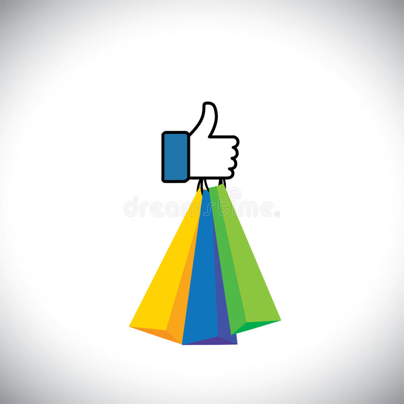 Όπως το σύμβολο χεριών των αντίχειρων επάνω με τις τσάντες αγορών - διανυσματικό εικονίδιο διανυσματική απεικόνιση
