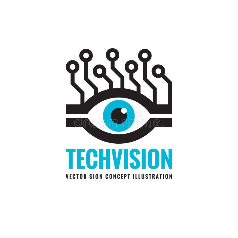 Όραμα τεχνολογίας - διανυσματική απεικόνιση έννοιας προτύπων λογότυπων Αφηρημένο ανθρώπινο δημιουργικό σημάδι ματιών απεικόνιση αποθεμάτων