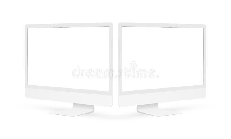 Όργανα ελέγχου υπολογιστών αργίλου με τις κενές οθόνες που απομονώνονται διανυσματική απεικόνιση