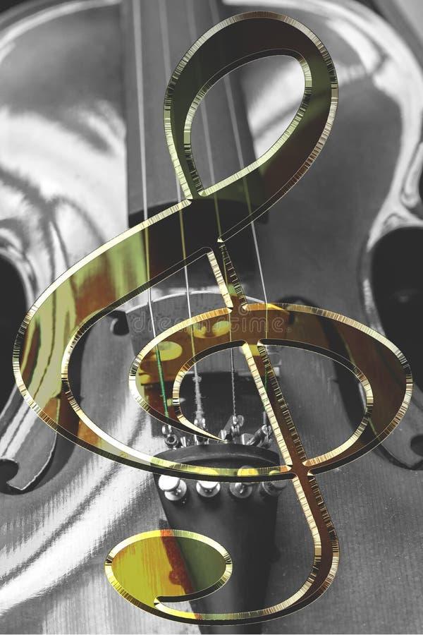 Όργανο βιολιών με το κλειδί βιολιών στοκ εικόνες