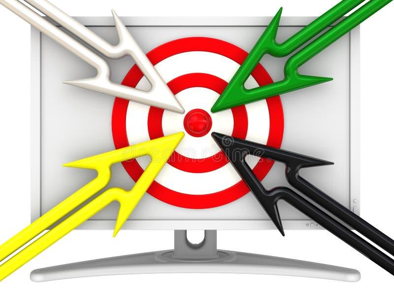 Όργανο ελέγχου με έναν στόχο και τα βέλη Έννοια αναζήτησης στόχου διανυσματική απεικόνιση