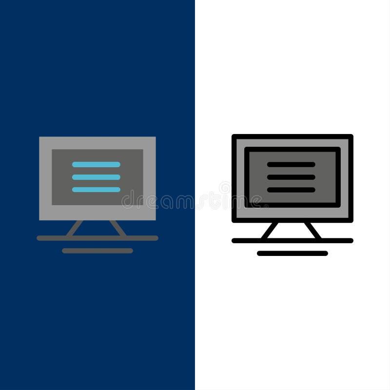 Όργανο ελέγχου, υπολογιστής, εικονίδια υλικού Επίπεδος και γραμμή γέμισε το καθορισμένο διανυσματικό μπλε υπόβαθρο εικονιδίων ελεύθερη απεικόνιση δικαιώματος