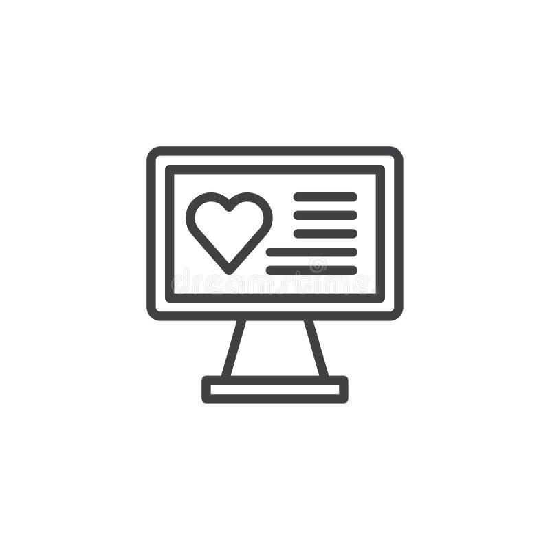 Όργανο ελέγχου υπολογιστών με το κείμενο καρδιών στο εικονίδιο γραμμών οθόνης ελεύθερη απεικόνιση δικαιώματος