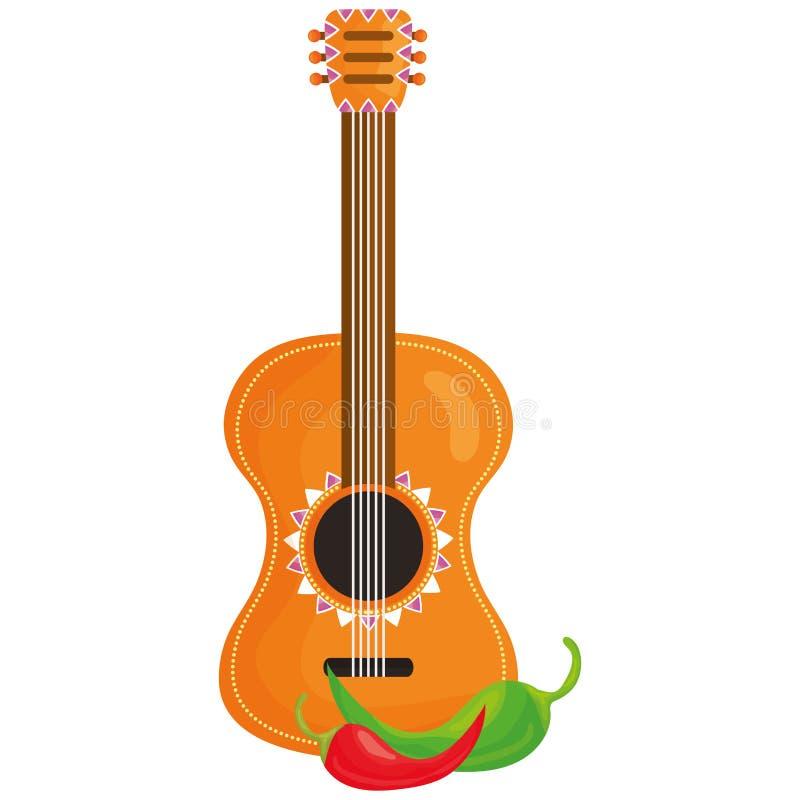 Όργανο κιθάρων και πιπέρι τσίλι διανυσματική απεικόνιση