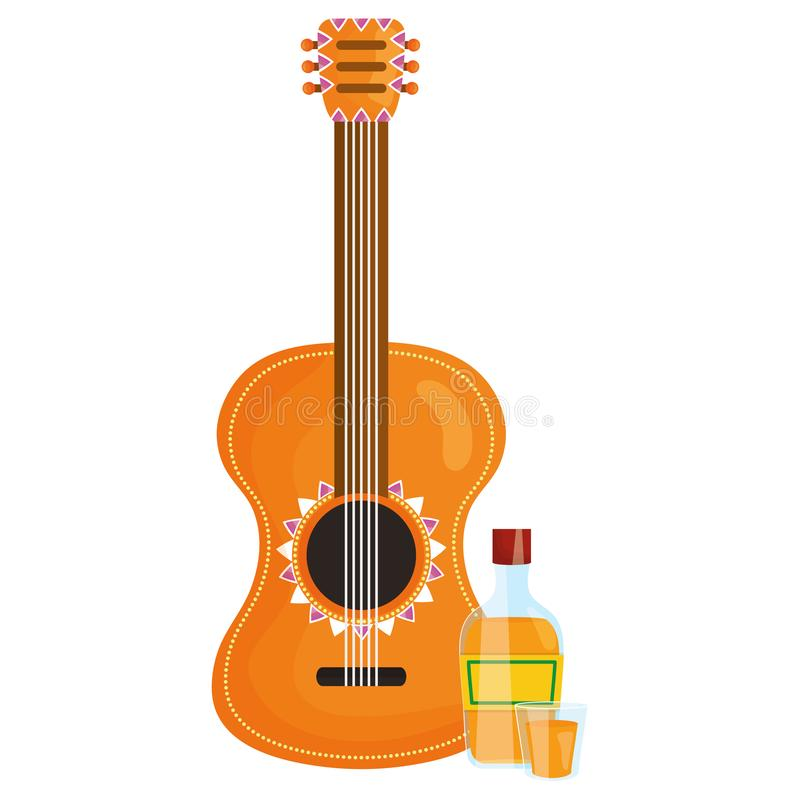 Όργανο κιθάρων με το μπουκάλι tequila απεικόνιση αποθεμάτων