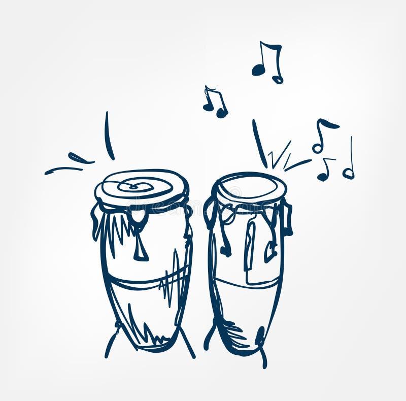 Όργανο μουσικής σχεδίου γραμμών σκίτσων Congas απεικόνιση αποθεμάτων
