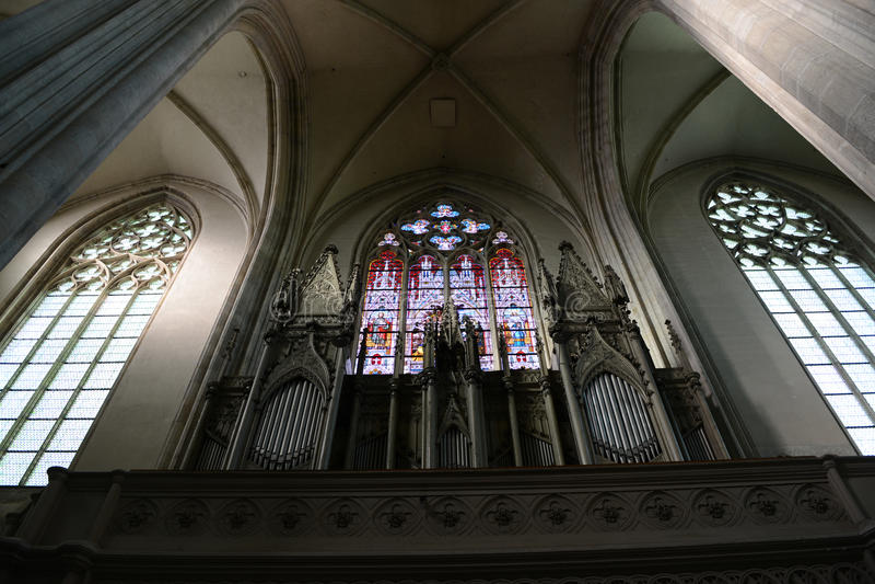 Όργανο ANG παραθύρων Minoritenkirche - Βιέννη, Αυστρία στοκ φωτογραφίες