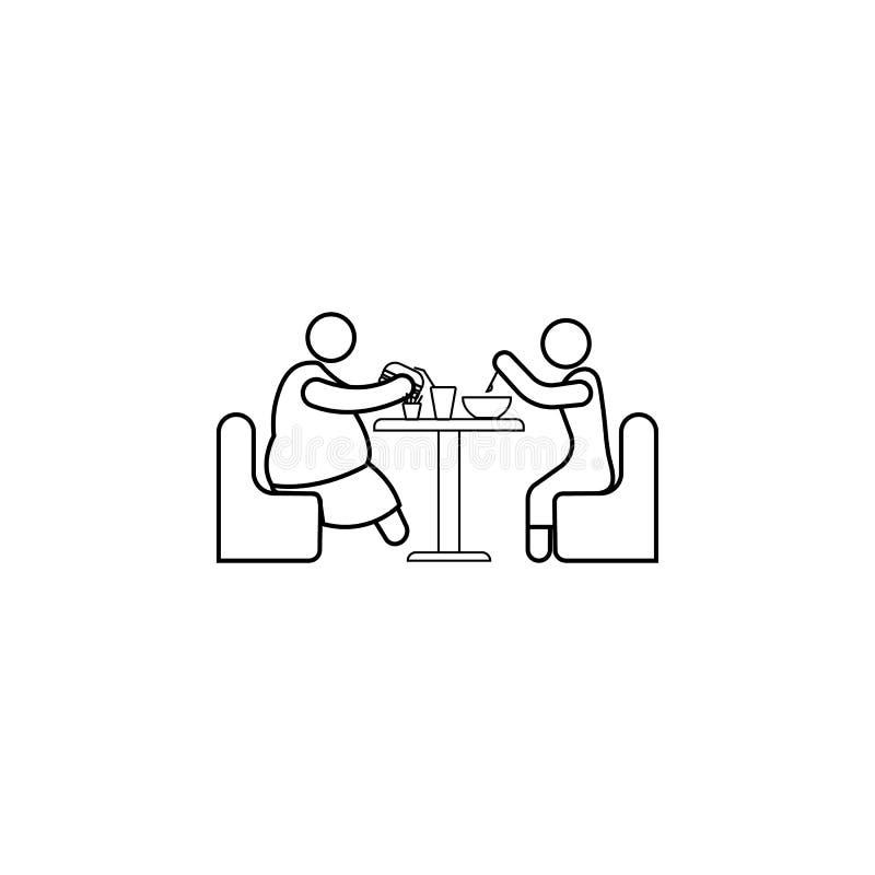 όρεξη ενός παχιού εικονιδίου προσώπων Στοιχείο του γρήγορου φαγητού για την κινητούς έννοια και τον Ιστό apps Λεπτό εικονίδιο γρα ελεύθερη απεικόνιση δικαιώματος