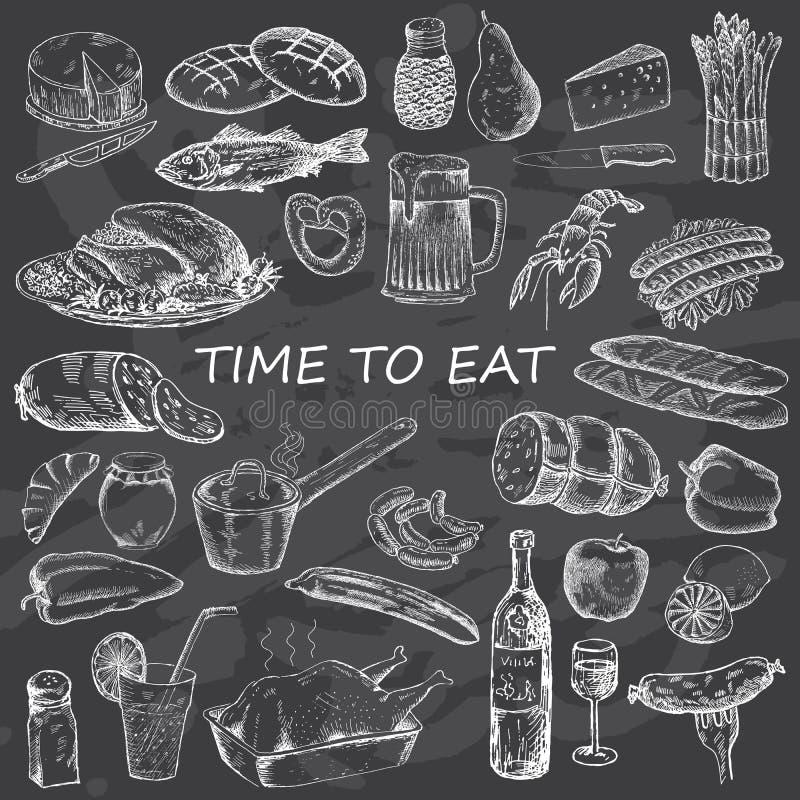 Όρεξη Bon ψωμιού διαφορετικό τροφίμων κλίσεων διάνυσμα τύπων διαφανειών απεικόνισης καθορισμένο διανυσματική απεικόνιση
