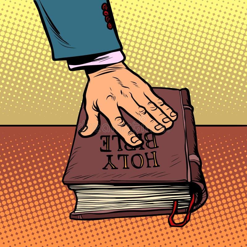 Όρκιση στη Βίβλο δικαστήριο και θρησκεία απεικόνιση αποθεμάτων
