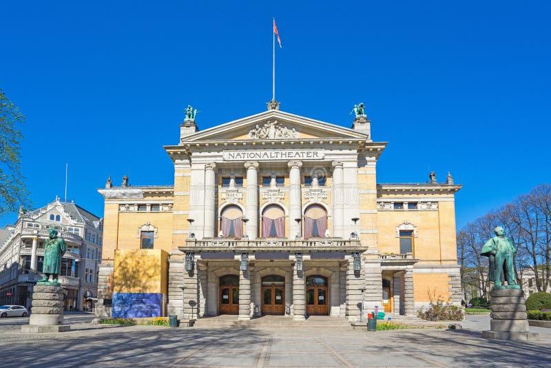 Όσλο το εθνικό θέατρο στην πόλη του Όσλο, Νορβηγία στοκ φωτογραφία με δικαίωμα ελεύθερης χρήσης