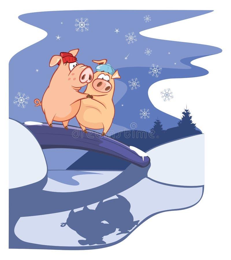 Όταν δύο χοίροι είναι πτώση ερωτευμένη Διανυσματική απεικόνιση μιας νύχτας Χριστουγέννων ελεύθερη απεικόνιση δικαιώματος
