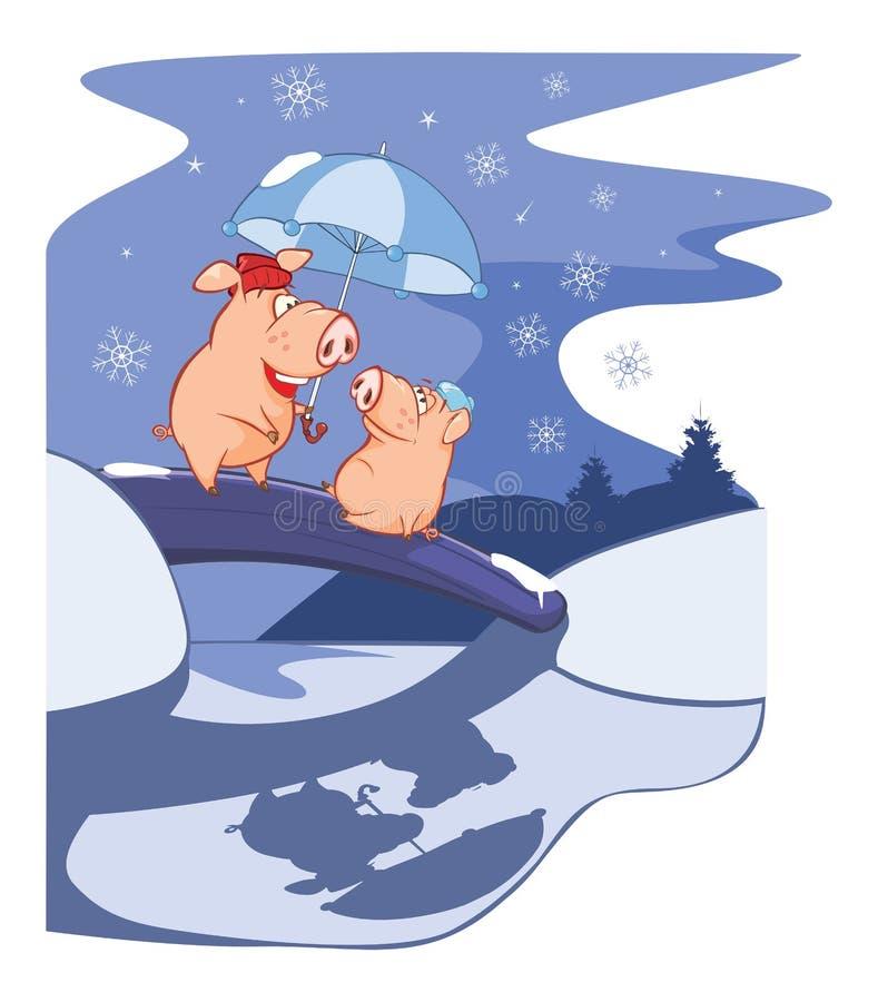 Όταν δύο χοίροι είναι πτώση ερωτευμένη Διανυσματική απεικόνιση μιας νύχτας Χριστουγέννων απεικόνιση αποθεμάτων