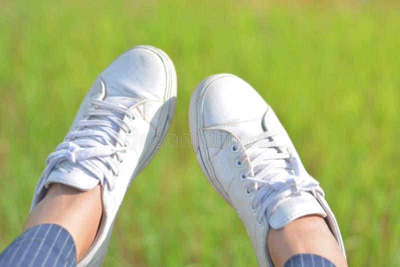 Όταν χαλαρώνετε ταλαντεύεστε το πόδι σας στοκ εικόνες
