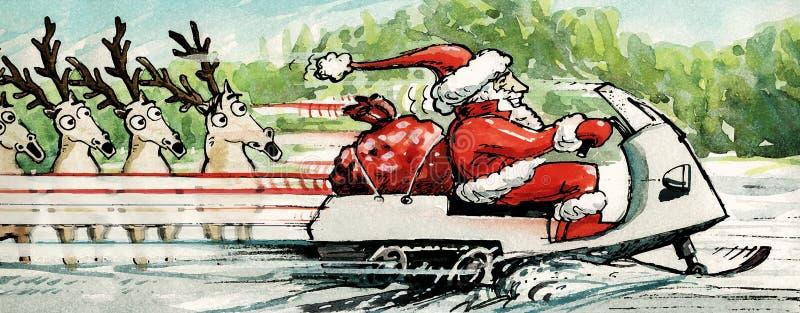 Όχημα για το χιόνι οδήγησης Santa διανυσματική απεικόνιση