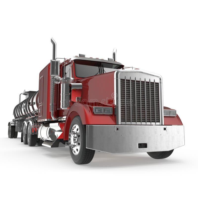 όχημα Μεγάλο φορτηγό φορτίου δεξαμενή Βυτιοφόρο βενζίνης στο λευκό τρισδιάστατη απεικόνιση απεικόνιση αποθεμάτων
