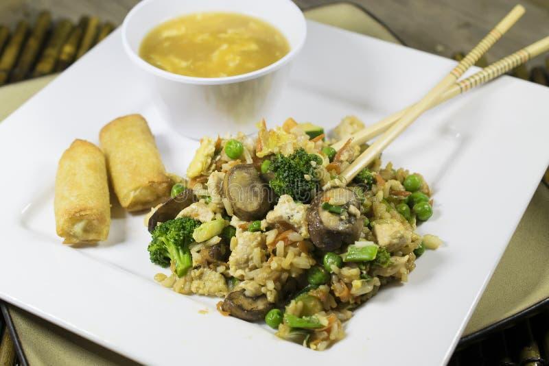 Όχι το χαρακτηριστικό τηγανισμένο κοτόπουλο ρύζι σας στοκ εικόνες