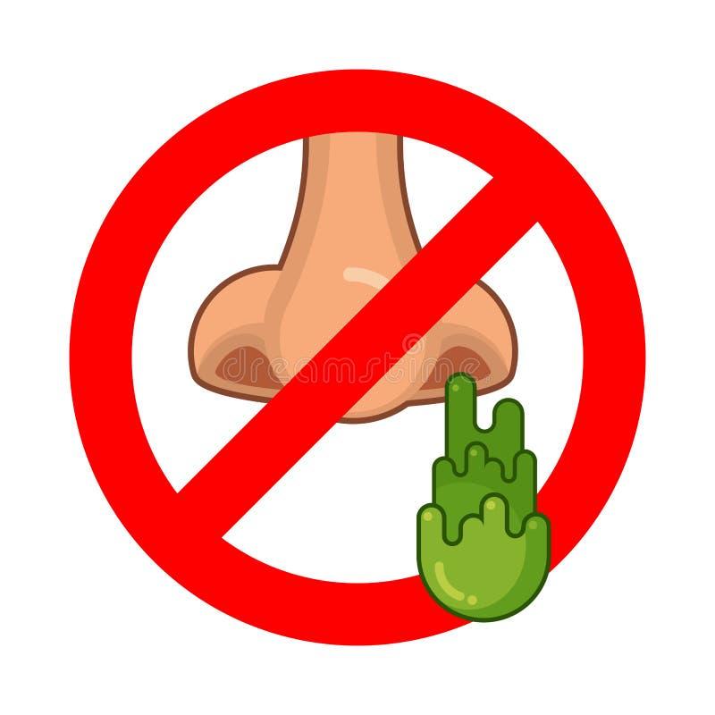 Όχι sneeze Στάση booger Απαγορευμένη αλλεργία Κόκκινη απαγόρευση SIG ελεύθερη απεικόνιση δικαιώματος