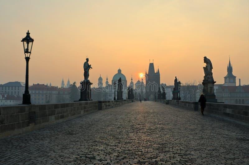 όψη ανατολής Charles Πράγα γεφυρ στοκ εικόνες με δικαίωμα ελεύθερης χρήσης