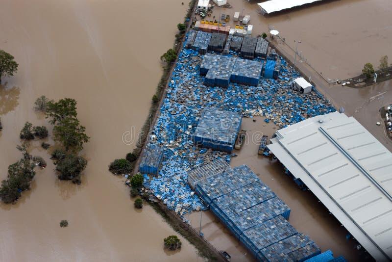 όψη απώλειας επιχειρησιακών πλημμυρών του Μπρίσμπαν του 2011 εναέρια στοκ φωτογραφίες