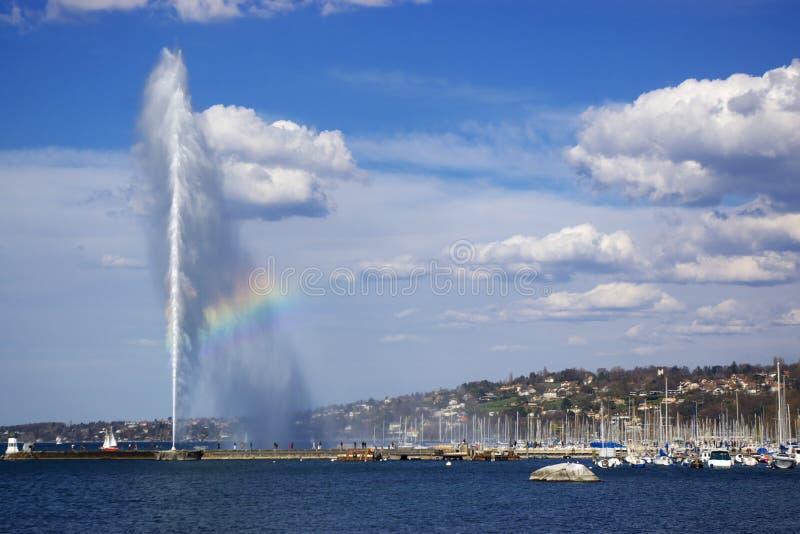 όψη λιμνών της Γενεύης πηγών στοκ εικόνες με δικαίωμα ελεύθερης χρήσης