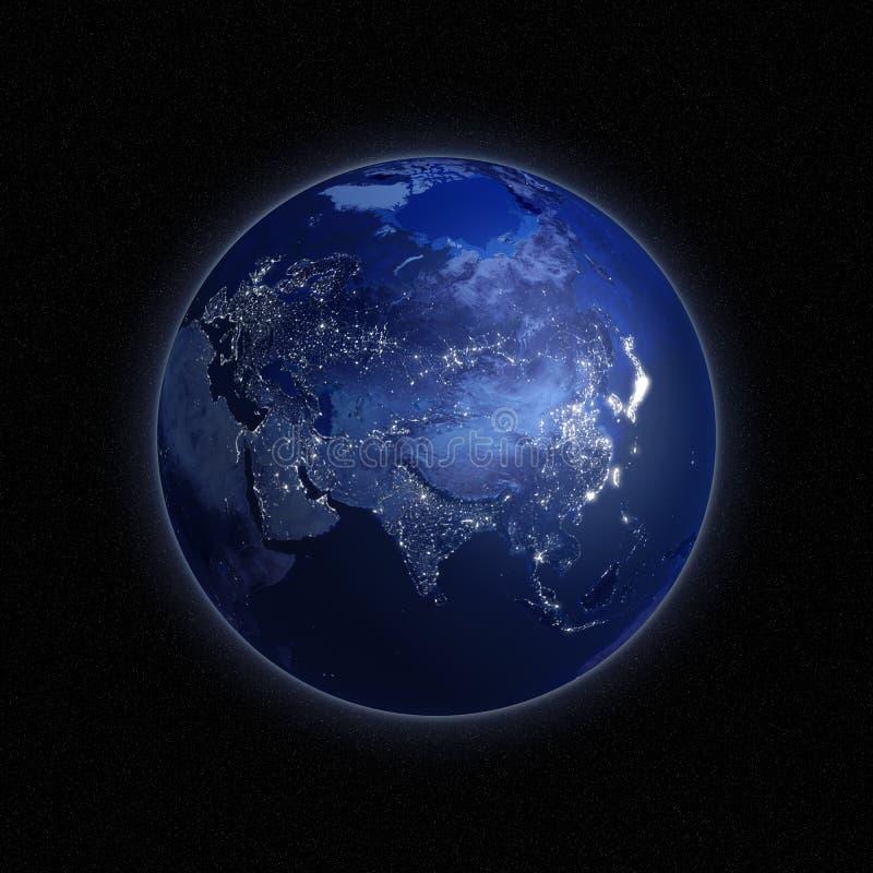 Όψη νύχτας της γης ελεύθερη απεικόνιση δικαιώματος
