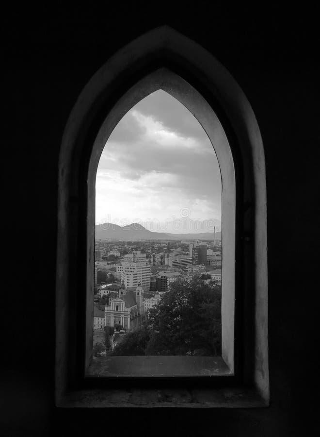 Όψη παραθύρων του Λουμπλιάνα στη Σλοβενία στοκ εικόνες