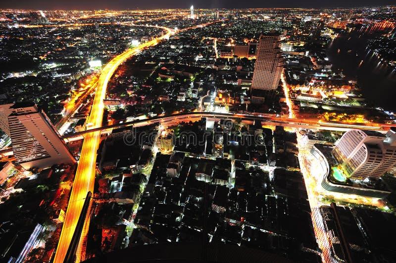 όψη της Ταϊλάνδης νυχτερινού ουρανού πόλεων της Μπανγκόκ στοκ εικόνα με δικαίωμα ελεύθερης χρήσης