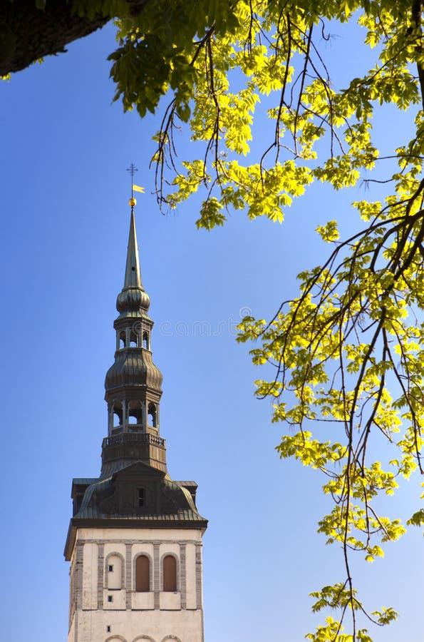 όψη Nicholas niguliste ST Ταλίν εκκλησιών vane κωμοπόλεων πύργων του Ταλίν Thomas αιθουσών της Εσθονίας πόλεων παλαιός καιρός στοκ εικόνα με δικαίωμα ελεύθερης χρήσης