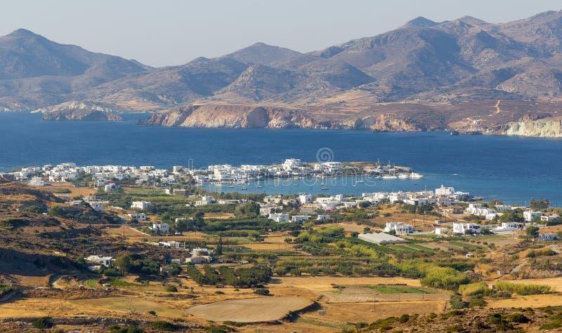 Όψη Pollonia του χωριού, Milos νησί, Ελλάδα στοκ φωτογραφίες