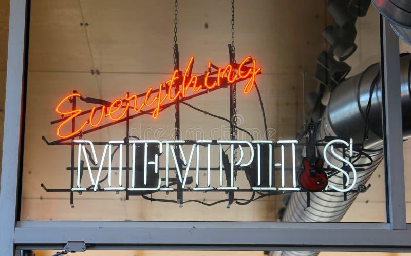 Όλα σημάδι νέου της Μέμφιδας στο κέντρο επισκεπτών της Μέμφιδας, Μέμφιδα Τένεσι στοκ φωτογραφίες