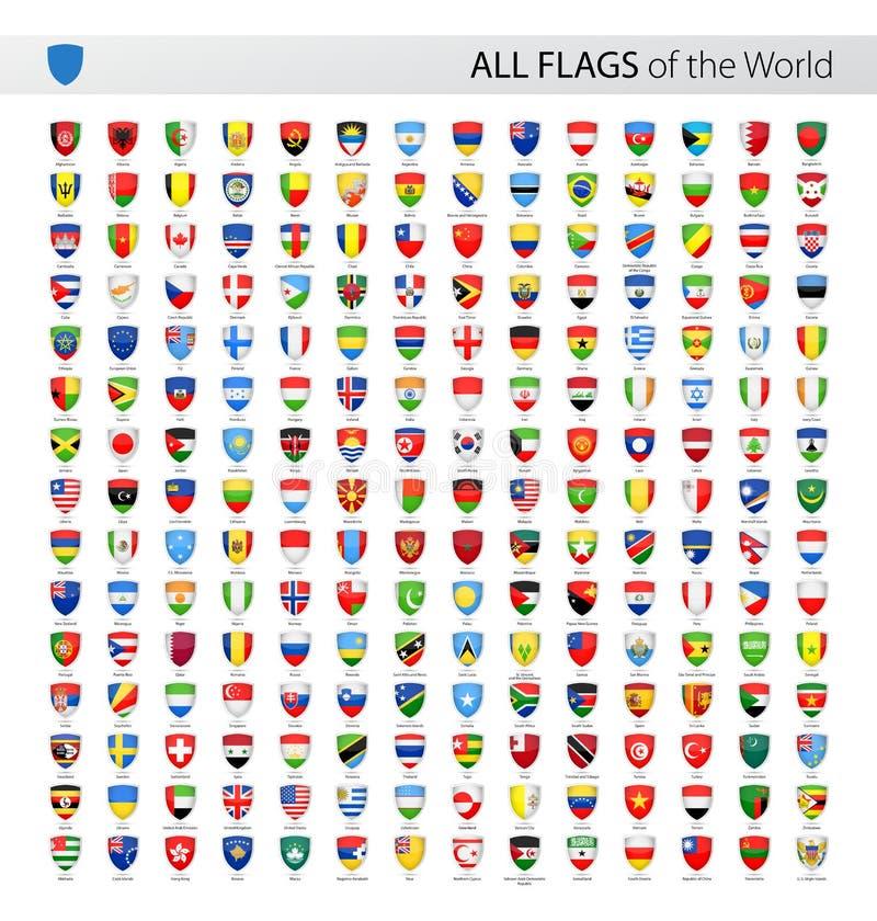 Όλες οι διανυσματικές σημαίες παγκόσμιων ασπίδων - συλλογή ελεύθερη απεικόνιση δικαιώματος