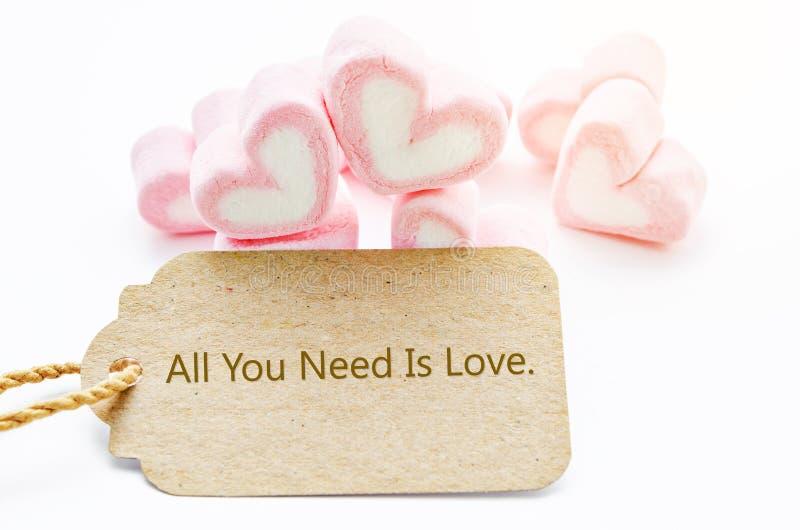 Όλη που χρειάζεστε είναι αγάπη διατυπώνοντας την ετικέττα εγγράφου με Marshmallow την καρδιά SH στοκ εικόνα με δικαίωμα ελεύθερης χρήσης