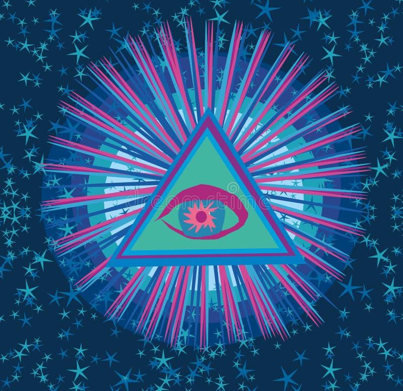 Όλοι που βλέπουν το μάτι μέσα στην πυραμίδα τριγώνων ελεύθερη απεικόνιση δικαιώματος