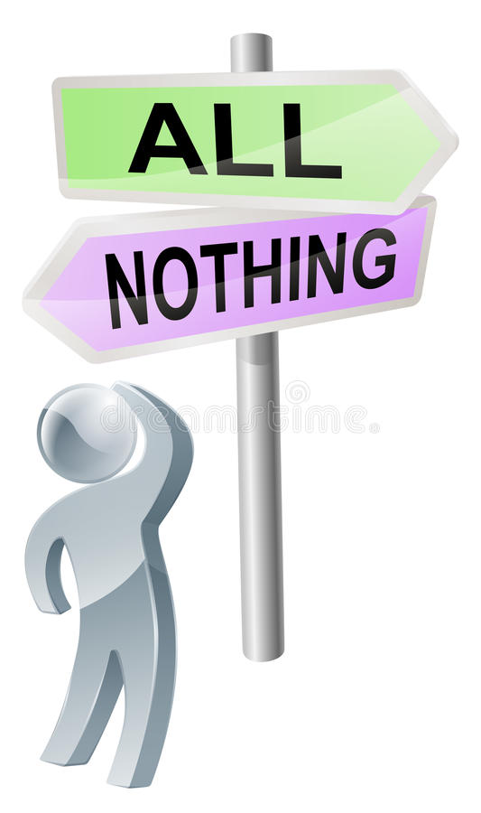 Όλος ή τίποτα απόφαση απεικόνιση αποθεμάτων