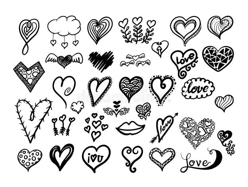 όλο το άτομο καρδιών στοιχείων ημέρας συλλογής εμβλημάτων περισσότερο το σχεδιάγραμμα προαιρετικών δυνατοτήτων αντικειμένων που μ ελεύθερη απεικόνιση δικαιώματος
