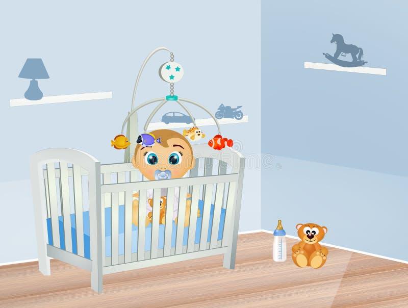 Ύπνοι μωρών στην κούνια στην κρεβατοκάμαρα ελεύθερη απεικόνιση δικαιώματος