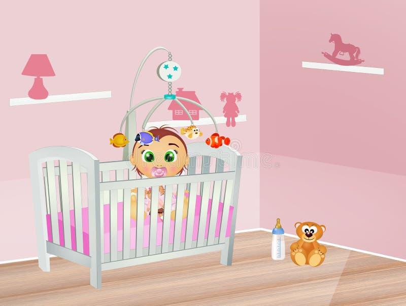 Ύπνοι μωρών στην κούνια στην κρεβατοκάμαρα διανυσματική απεικόνιση